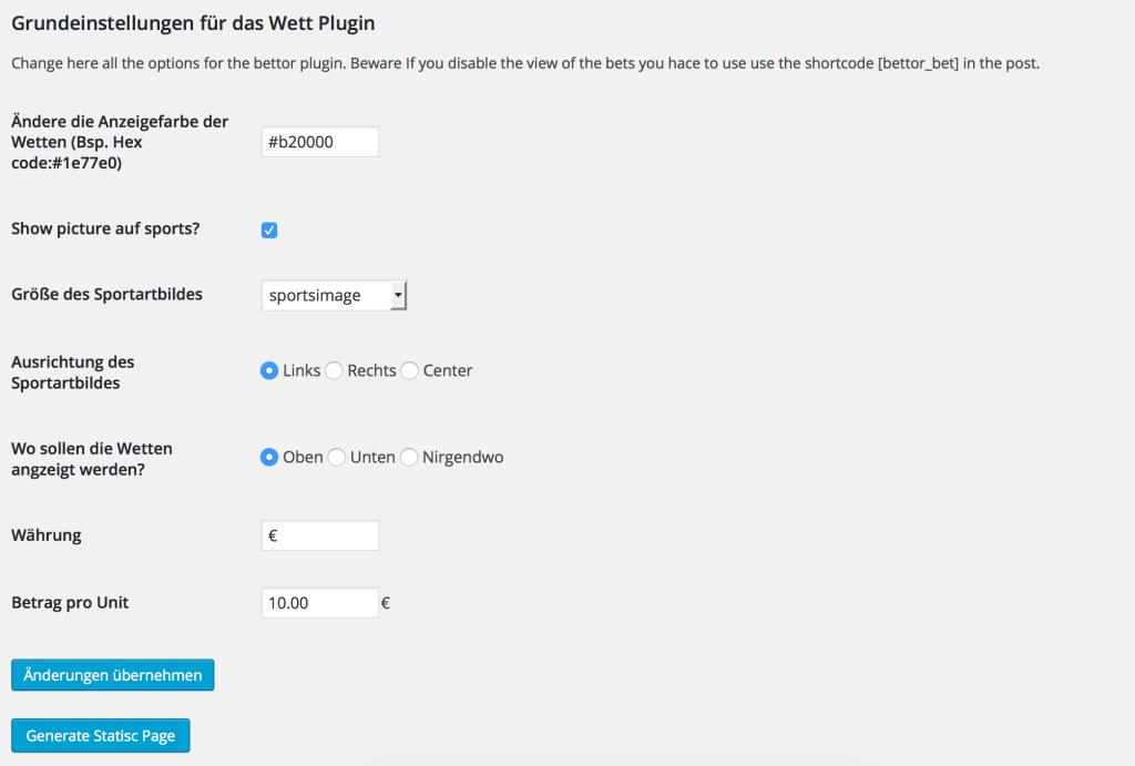 Einstellungen des Wetten Plugins für WordPress